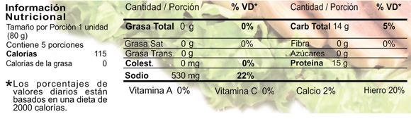 Tabla nutricional - churrasco - vegetalia