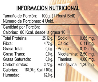 Tabla nutricional - roast beff - vegetalia